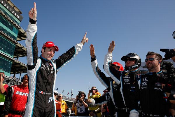 8-10 May, 2014, Indianapolis, Indiana, USA Simon Pagenaud celebrates his win with his team ©2014, Michael L. Levitt LAT Photo USA