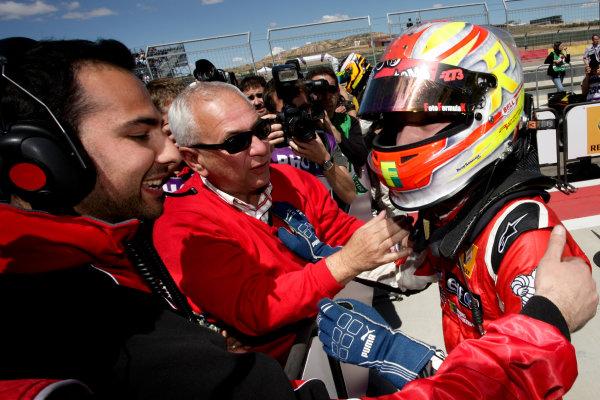 ALCANIZ (ESP) MAY 4-6 2012 -  First Round of the Formula Renault 3 5 Series 2012 at Motorland Aragon. Robin Frijns #4 Fortec. Podium. © 2012 Sebastiaan Rozendaal / LAT Photographic