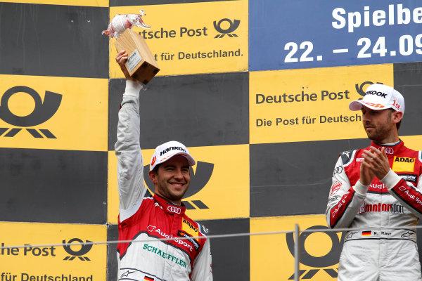 2017 DTM Round 8  Red Bull Ring, Spielberg, Austria  Sunday 24 September 2017. Podium: second place Mike Rockenfeller, Audi Sport Team Phoenix, Audi RS 5 DTM  World Copyright: Alexander Trienitz/LAT Images ref: Digital Image 2017-DTM-RBR-AT3-2753