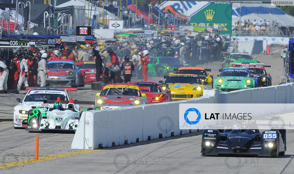 14-19 March 2011. Sebring, Florida USA#055 Level 5 Motorsports Lola Honda on front straight as cars leave pits©2011 Dan R. Boyd LAT Photo USA