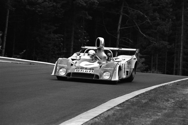 1975 Nurburgring 1000 kms. Nurburgring, Germany. 1st June 1975. Rd 7. Howden Ganley / Tim Schenken (Mirage Gulf GR7 Ford), 2nd position, action.  World Copyright: LAT Photographic.  Ref:  7527 - 20A.