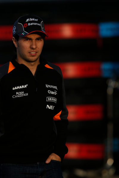 Shanghai International Circuit, Shanghai, China. Friday 10 April 2015. Sergio Perez, Force India. World Copyright: Charles Coates/LAT Photographic. ref: Digital Image _N7T9768
