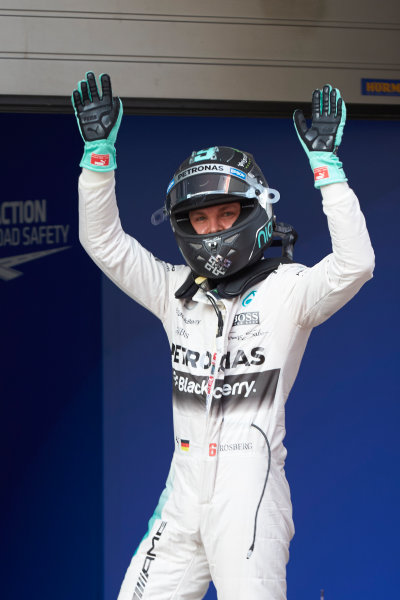 Shanghai International Circuit, Shanghai, China. Saturday 11 April 2015. Front row starter Nico Rosberg, Mercedes AMG, celebrates in Parc Ferme. World Copyright: Steve Etherington/LAT Photographic. ref: Digital Image SNE10466