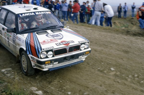 1987 World Rally Championship.Sanremo Rally, Italy. 12-15 October 1987.Miki Biasion/Tiziano Siviero (Lancia Delta HF 4WD), 1st position.World Copyright: LAT PhotographicRef: 35mm transparency 87RALLY08