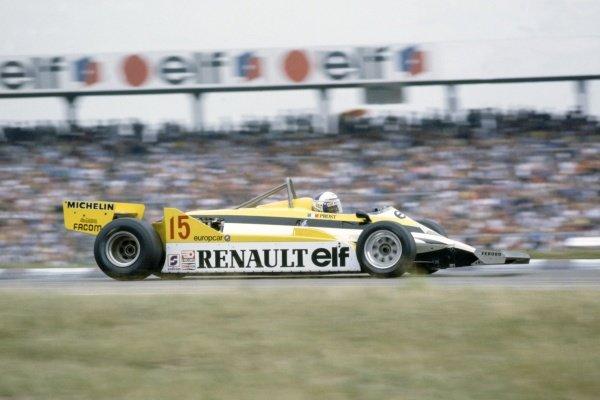 1981 German Grand Prix.Hockenheim, Germany. 31 July-2 August 1981.Alain Prost (Renault RE30), 2nd position.World Copyright: LAT PhotographicRef: 35mm transparency 81GER05