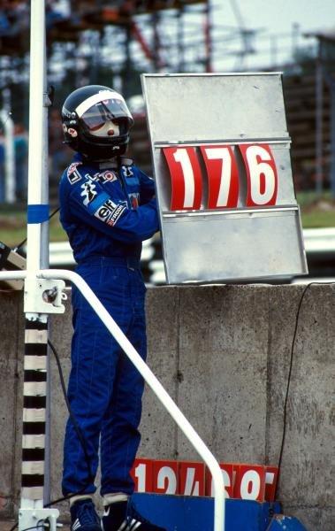 Jacques Laffite (FRA) Ligier equalled Graham HillÕs record 176 Grand Prix starts, but unfortunately broke both legs in a career ending crash on the first lap.  Formula One World Championship, British Grand Prix, Brands Hatch, England, 13 July 1986. Catalogue Ref.: 10-109 Sutton Motorsport Images Catalogue