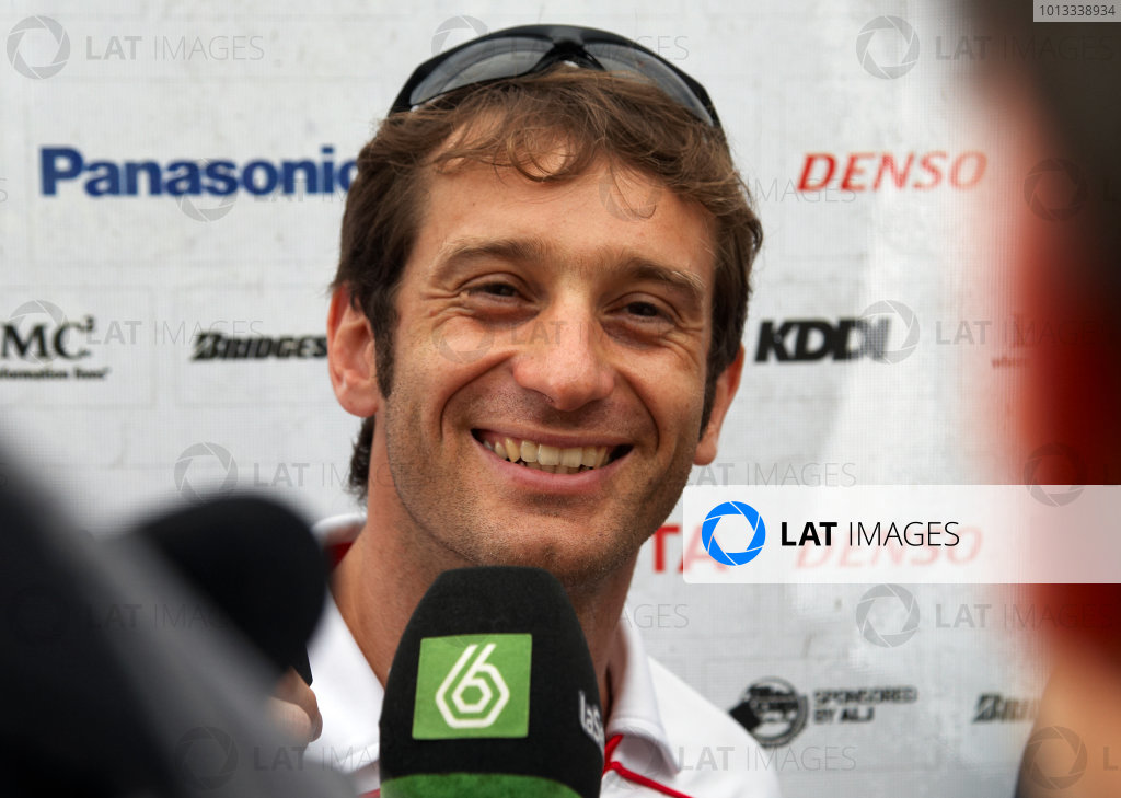 Sepang, Kuala Lumpur, Malaysia 2nd April 2009 Jarno Trulli, Toyota TF109 is interviewed after finding out he finished in 3rd Position in the Australian Grand Prix after all. Portrait.  World Copyright: Steve Etherington/LAT Photographic ref: Digital Image SNE11787