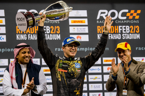 2018 Race Of Champions King Farhad Stadium, Riyadh, Abu Dhabi. Saturday 3 February 2018 Petter Solberg (NOR) is presented with the runners up trophy on the podium. Copyright Free FOR EDITORIAL USE ONLY. Mandatory Credit: 'Race of Champions'