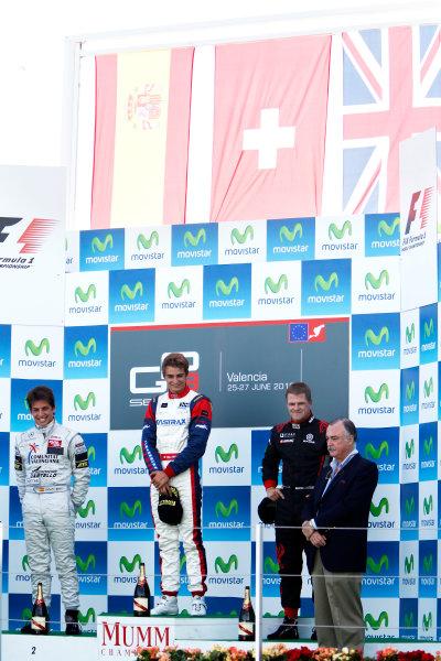 Round 3. Valencia, Spain. 27th June 2010.Sunday Race.Nico Muller, (Sui, Jenzer Motorsport) celebrates on the podium with Roberto Merhi, (ESP, Atech CRS GP) and James Jakes, (GBR, Manor Racing).Portrait. World Copyright: Glenn Dunbar/GP3 Media Service.Digital Image _G7C0755