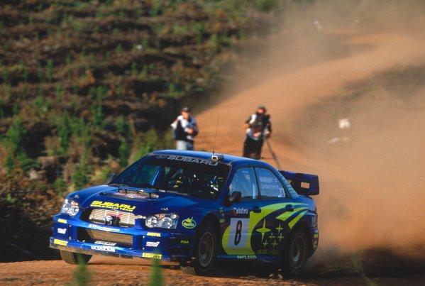 2003 World Rally ChampionshipRally Australia. 3rd - 7th September 2003Tommi Makinen/Kaj Lindstrom (Subaru Impreza WRC 2003), action.World Copyright: McKlein/LAT Photographicref: 35mm Image A02
