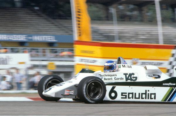 1982 German Grand Prix.Hockenheim, Germany. 8 August 1982.Keke Rosberg (Williams FW08-Ford Cosworth).World Copyright:LAT Photographic