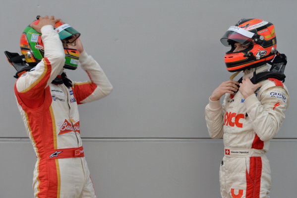 (L to R): Ho-Pin Tung (CHN) Budweiser Team Absolute Racing and Alexandre Imperatori (HKG) PICC Team StarChase. Porsche Carrera Cup Asia, Sepang, Malaysia, 28-30 March 2014.