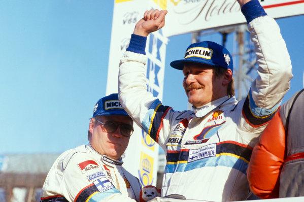 Swedish Rally, Sweden. 14th - 16th February 1986. Juha Kankkunen/Juha Piironen (Peugeot 205 T16 E2), 1st position, podium. World Copyright: LAT Photographic Ref: Colour Transparency.