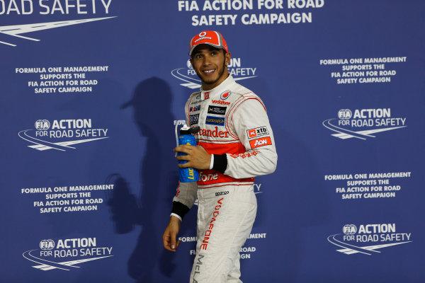 Yas Marina Circuit, Abu Dhabi, United Arab Emirates Saturday 3rd November 2012. Pole man Lewis Hamilton, McLaren.  World Copyright:Andrew Ferraro/  ref: Digital Image _79P2848