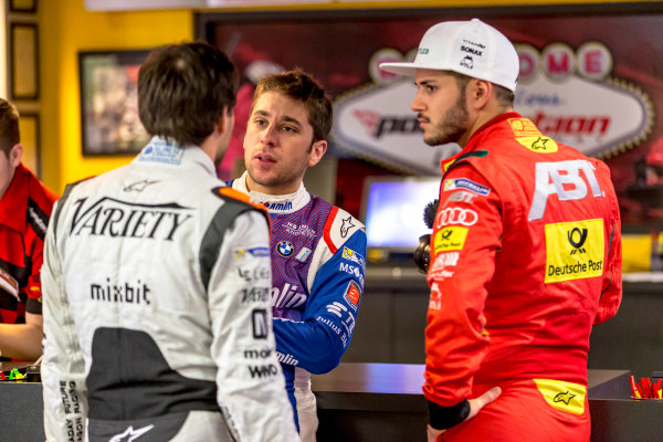 2016/2017 FIA Formula E Championship. Vegas eRace, Las Vegas, Nevada, United States of America. Wednesday 4 January 2017. L-R: Jerome d' Ambrosio (7, Faraday Future Dragon Racing), Robin Frijns (27, Andretti Formula E) and Daniel Abt (66, ABT Schaeffler Audi Sport). Photo: Zak Mauger/LAT/Formula E ref: Digital Image _L0U5922