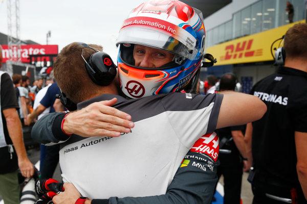 Suzuka Circuit, Japan. Saturday 8 October 2016. Romain Grosjean, Haas F1, celebrates a successful Qualifying session. World Copyright: Andrew Hone/LAT Photographic ref: Digital Image _ONZ4730
