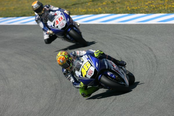 2008 Moto GP ChampionshipJerez, Spain. 28th - 30th March 2008.Fiat Yamaha Team Mates Valentino Rossi and Jorge Lorenzo .World Copyright: Martin Heath/LAT Photographicref: Digital Image Only