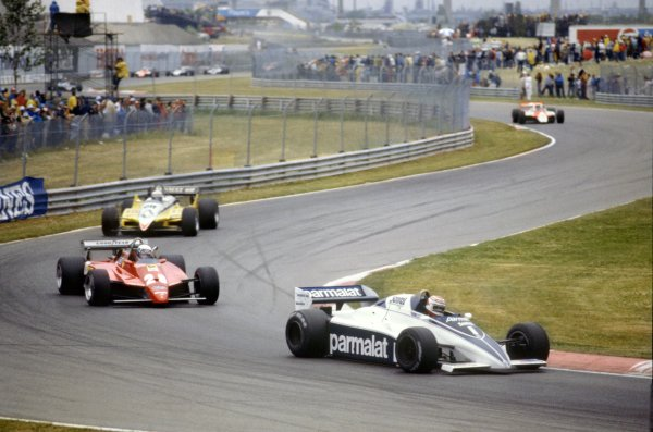 1982 Canadian Grand Prix.Montreal, Canada. 13 June 1982.Nelson Piquet, Brabham BT50-BMW, 1st position, leads Didier Pironi, Ferrari 126C2, 9th position, Rene Arnoux, Renault RE30B, retired, and John Watson, McLaren MP4/1B-Ford, 3rd position, action.World Copyright: LAT PhotographicRef: 35mm transparency 82CAN29