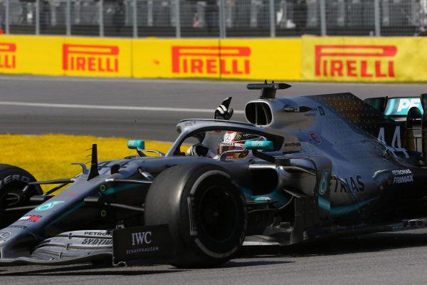 Lewis Hamilton, Mercedes AMG F1 W10, 1st position, celebrates on his way to Parc Ferme