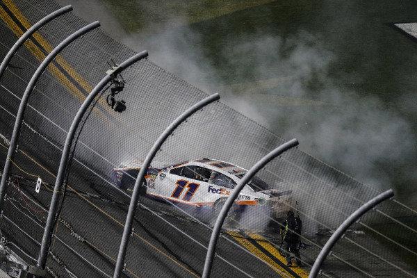Winner #11: Denny Hamlin, Joe Gibbs Racing, Toyota Camry FedEx Express celebrates his win, burnout
