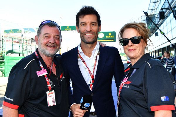 Paul Stoddart (AUS), Mark Webber (AUS) and Belinda Whiteside (GBR) at Formula One World Championship, Rd1, Australian Grand Prix, Race, Melbourne, Australia, Sunday 25 March 2018.