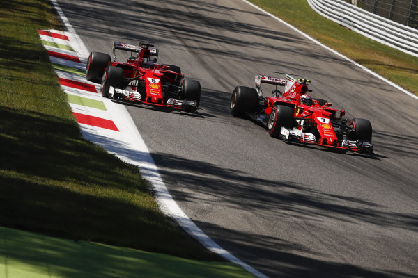 Sebastian Vettel (GER) Ferrari SF70-H and Kimi Raikkonen (FIN) Ferrari SF70-H battle at Formula One World Championship, Rd13, Italian Grand Prix, Race, Monza, Italy, Sunday 3 September 2017.