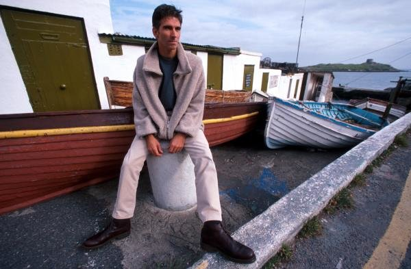 Damon Hill (GBR) relaxes at the harbour near his home in Ireland.