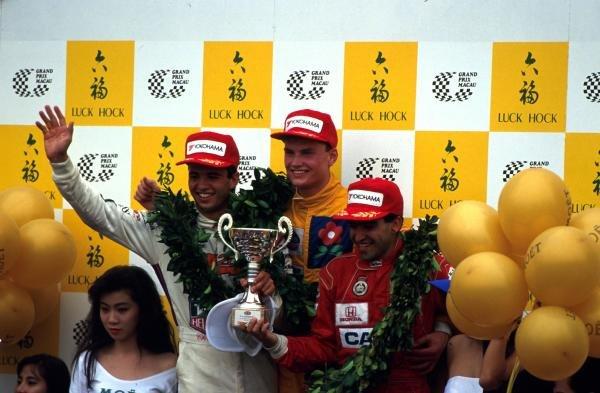 Podium and Results: 1st David Coulthard (GBR) Paul Stewart Racing, centre. 2nd Jordi Gene (ESP) West Surrey Racing, right. 3rd Christian Fittipaldi (BRA), left.38th Macau Grand Prix, Hong Kong. 24 November 1991.