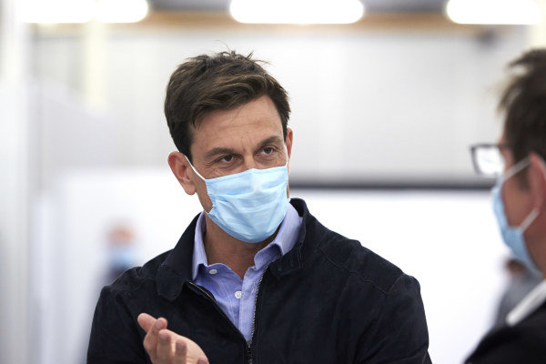 Toto Wolff, Executive Director (Business), Mercedes AMG wears a protective mask.