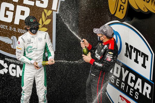 #12: Will Power, Team Penske Chevrolet celebrates winning the Harvest GP Race 2, #88: Colton Herta, Andretti Harding Steinbrenner Autosport Honda