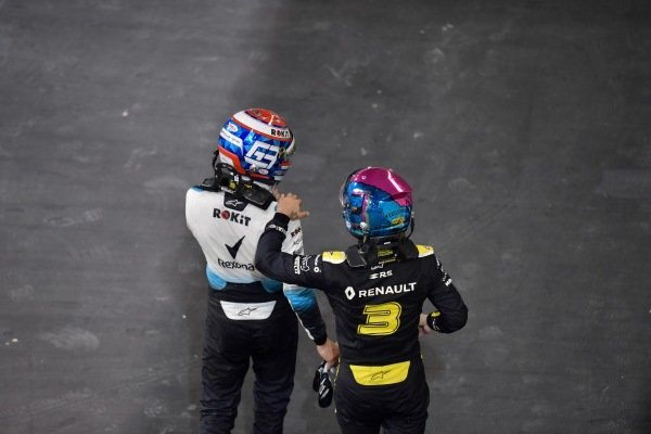 George Russell, Williams Racing, and Daniel Ricciardo, Renault F1 Team, in Parc Ferme after the race
