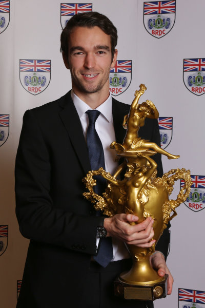 2014 BRDC Annual Awards The Grand Connaught Rooms, London, UK Monday 8 December 2014. Harry Tincknell with the Woolf Barnato Trophy. World Copyright: Ebrey/LAT Photographic. ref: Digital Image Tincknell-02