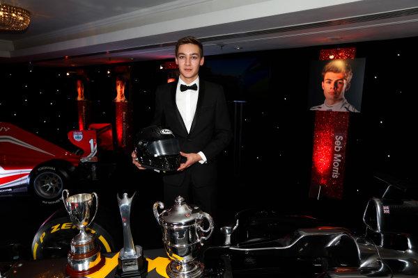 2014 Autosport Awards. Grosvenor House Hotel, Park Lane, London. Sunday 7 December 2014. George Russell wins the 2014 McLaren AUTOSPORT BRDC Award. World Copyright: Sam Bloxham/LAT Photographic. ref: Digital Image _14P4028