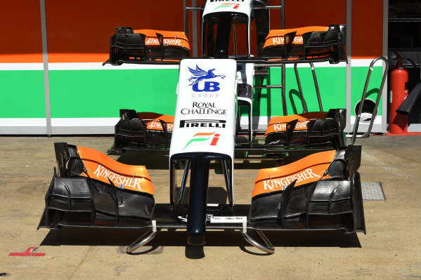 Force India VJM07 nose and front wings. Formula One World Championship, Rd5, Spanish Grand Prix, Preparations, Barcelona, Spain, Thursday 8 May 2014.
