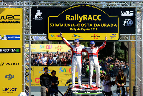 2017 FIA World Rally Championship, Round 11, Rally RACC Catalunya / Rally de Espa?a, 5-8 October, 2017, Kris Meeke and Paul Nagle, Citroen, Podium, Worldwide Copyright: LAT/McKlein