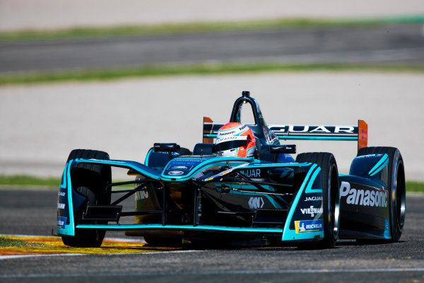 2017/2018 FIA Formula E Championship. Official Test - Valencia, Spain Tuesday 3 October 2017. Nelson Piquet Jr. (BRA), Panasonic Jaguar Racing, Jaguar I-Type II  Photo: Sam Bloxham/LAT/Formula E ref: Digital Image _W6I0565
