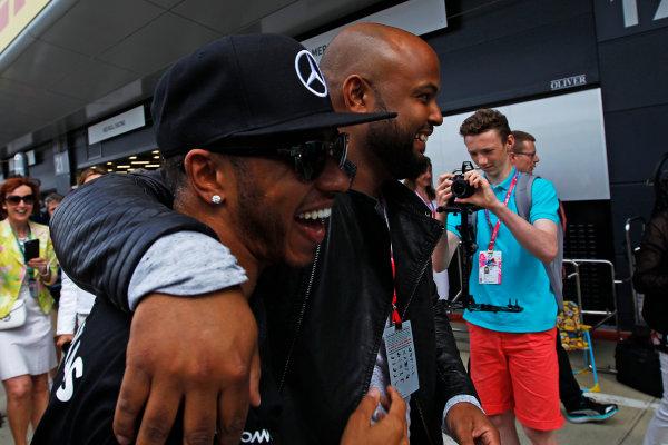 Silverstone, Northamptonshire, England. Sunday 05 July 2015. Lewis Hamilton, Mercedes AMG.  Photo:  Sam Bloxham/LAT Photographic ref: Digital Image _G7C3073