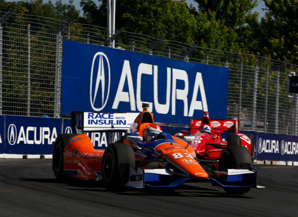 14 July, 2013,  Toronto, Ontario, CAN Charlie Kimball leads Dario Franchitti ©2013, Phillip Abbott LAT Photo USA