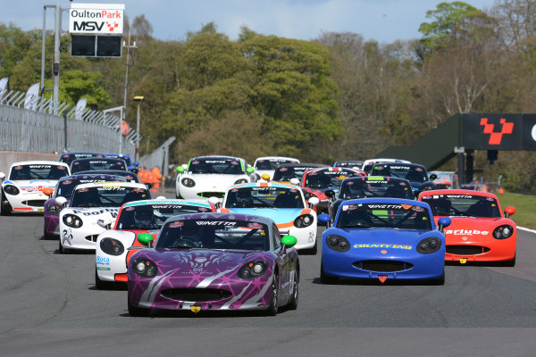 2017 Ginetta Racing Drivers Club + Oulton Park, Cheshire. 15th April 2017. Start of Race 1 Phil Ingram Ginetta G40 leads. World Copyright: JEP/LAT Images.