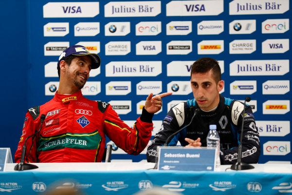 2016/2017 FIA Formula E Championship. Monte-Carlo, Monaco Saturday 13 May 2017. Lucas Di Grassi (BRA), ABT Schaeffler Audi Sport, Spark-Abt Sportsline, ABT Schaeffler FE02, and Sebastien Buemi (SUI), Renault e.Dams, Spark-Renault, Renault Z.E 16, in the Press Conference. Photo: Sam Bloxham/LAT/Formula E ref: Digital Image _W6I6881