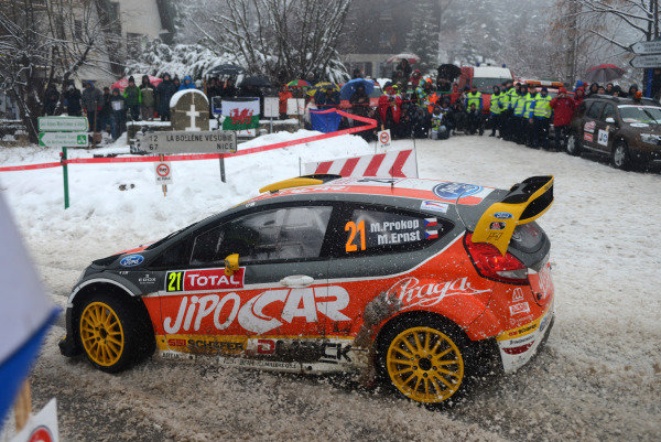Martin Prokop (CZE) and Michal Ernst (CZE), Ford Fiesta RS WRC on stage 14. FIA World Rally Championship, Rd1, Rally Monte- Carlo, Day Four, Monte-Carlo, Monaco, 19 January 2013.