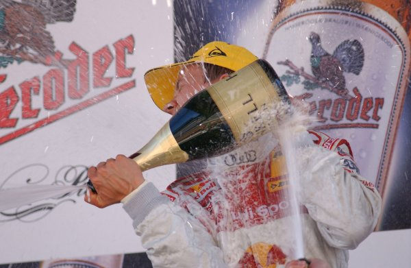2005 DTM ChampionshipLausitz, Germany. 17th - 18th September 2005Race podium - winner Mattias Ekstrom (Abt Sportsline Audi A4) 1st position, sprays the champagne.World Copyright: Andre Irlmeier / LAT Photographicref: Digital Image Only