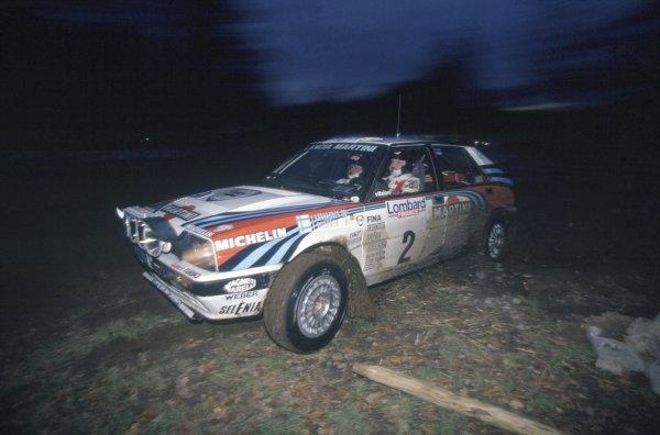 1991 World Rally Championship.Lombard RAC Rally, Great Britain. 24-28 November 1991.Juha Kankkunen/Juha Piironen (Lancia Delta Integrale 16V), 1st position.World Copyright: LAT PhotographicRef: 35mm transparency 91RALLY12