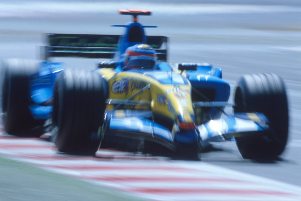 2005 French Grand Prix. Magny-Cours, France. 1st - 3rd July 2005 Fernando Alonso, Renault R25. Action. World Copyright: Charles Coates/LAT Photographic Ref: 35mm Image A20