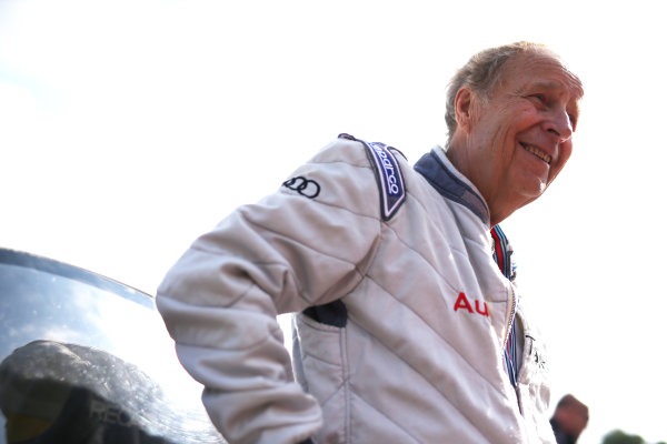 2017 Goodwood Festival of Speed. Goodwood Estate, West Sussex, England. 30th June - 2nd July 2017. Hannu Mikkola (FIN) Audi RS002 World Copyright : JEP/LAT Images
