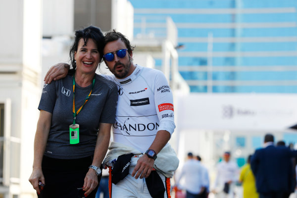 Baku City Circuit, Baku, Azerbaijan. Saturday 24 June 2017. Fernando Alonso, McLaren, with press officer Silvia Hoffer Frangiapane. World Copyright: Steven Tee/LAT Images ref: Digital Image _R3I3379