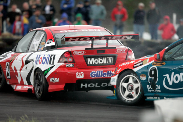 2004 Australian V8 SupercarsSymmons Plain Raceway, Tasmania. November 14th.V8 Supercar driver Mark Skaife spins out of race 1 after he and Russell Ingall came togeather in turn 1 during race 1.World Copyright: Mark Horsburgh/LAT Photographicref: Digital Image Only