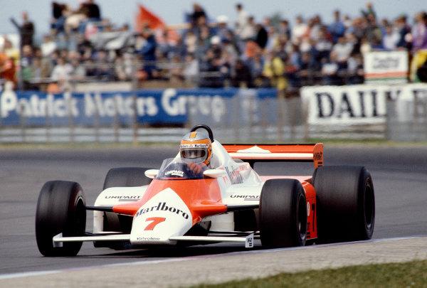 1981 British Grand Prix. Silverstone, England. 16-18 July 1981. John Watson (McLaren MP4/1 Ford) 1st position. Ref-81 GB 43. World Copyright - LAT Photographic