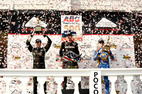 Verizon IndyCar Series ABC Supply 500 Pocono Raceway, Long Pond, PA USA Monday 21 August 2017 Josef Newgarden, Team Penske Chevrolet, Will Power, Team Penske Chevrolet and Alexander Rossi, Curb Andretti Herta Autosport with Curb-Agajanian Honda World Copyright: Gregg Feistman LAT Images