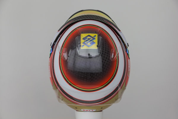 Sauber C34 Reveal. Hinwil, Switzerland. Thursday 29 January 2015. Helmet of Raffaele Marciello. Photo: Sauber F1 Team (Copyright Free FOR EDITORIAL USE ONLY) ref: Digital Image Sauber_2015_Helmet_40